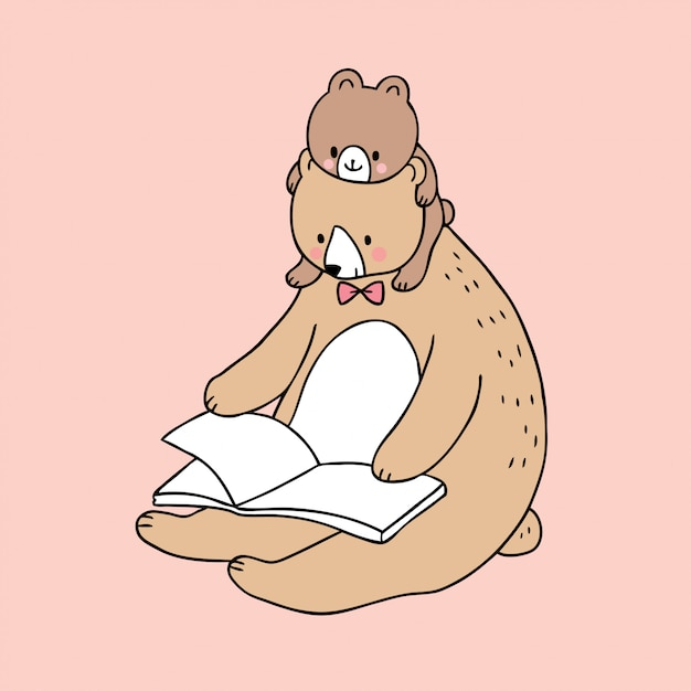 Vector lindo del libro de lectura del oso del papá y del bebé de la historieta. Vector Premium