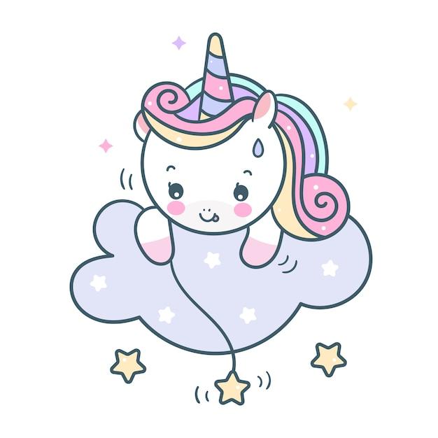 Vector lindo unicornio cogiendo estrellas en la nube Vector Premium