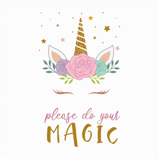 Vector lindo unicornio mágico kawaii Vector Premium