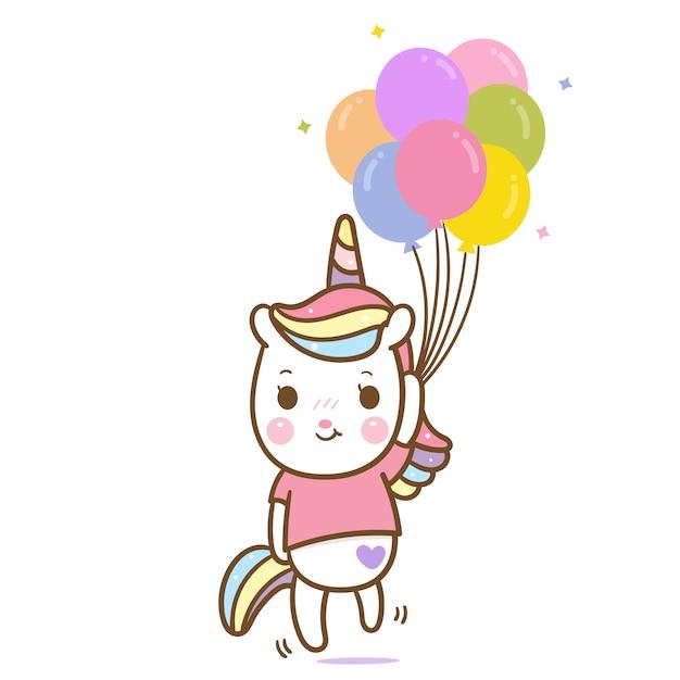 Vector lindo del unicornio que sostiene el globo en colores pastel Vector Premium