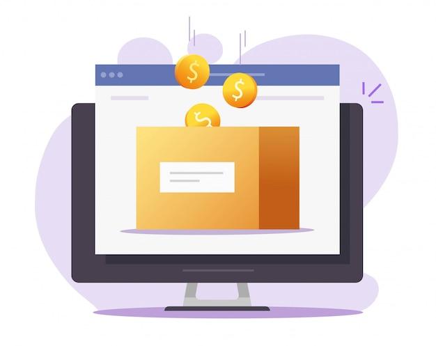 Vector en línea de caja de dinero como donación de caridad o sitio web de ahorros en computadora Vector Premium