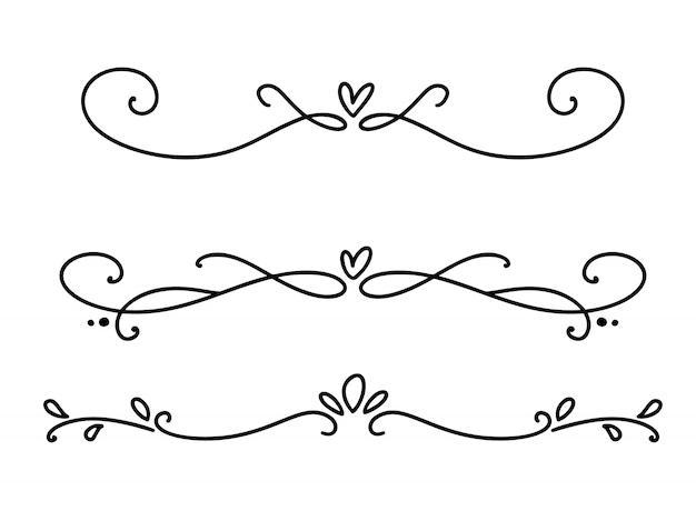 Vector línea vintage elegantes separadores y separadores de san valentín, remolinos y esquinas adornos decorativos. líneas florales filigrana Vector Premium