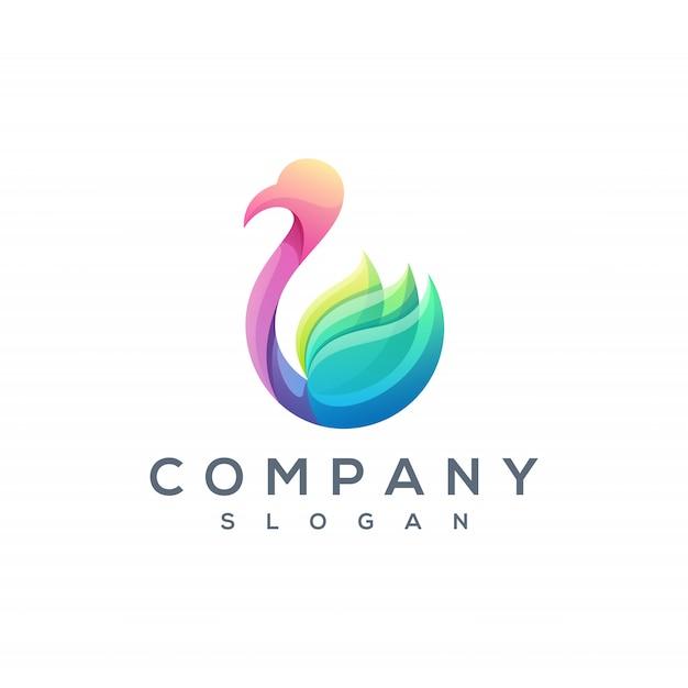 Vector logo de cisne colorido Vector Premium