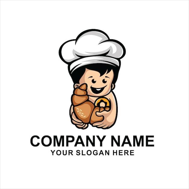 Vector de logo de panadería de bebé Vector Premium