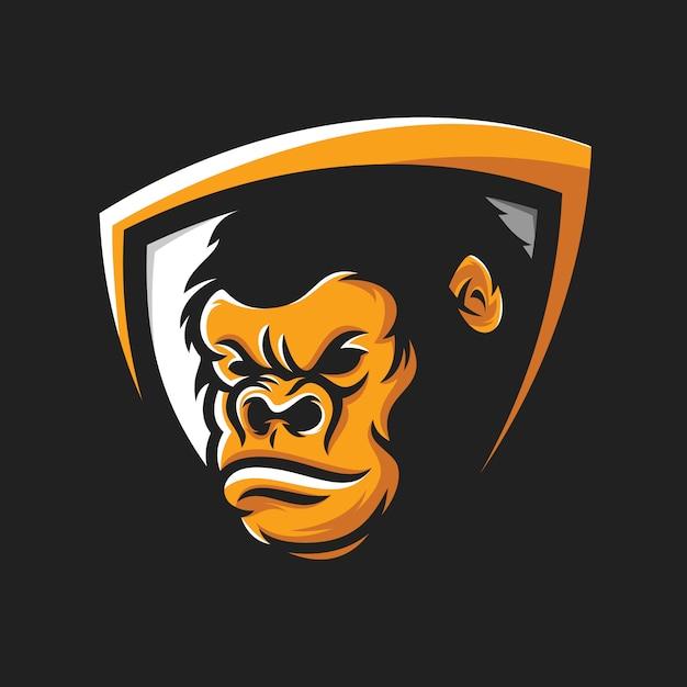 Vector de logotipo de cabeza de gorila fresco Vector Premium