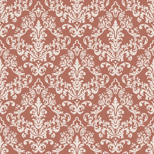 Vector de lujo clásico antiguo adorno de damasco de patrones sin fisuras vector gratuito