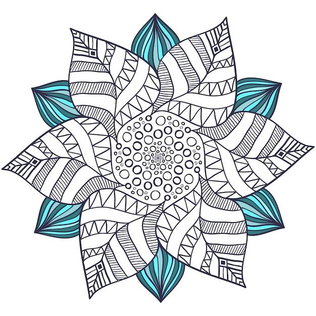Vector mandala único en estilo floral. círculo zentangle para ...