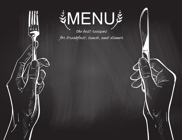 Vector manos sosteniendo un cuchillo y tenedor Vector Premium