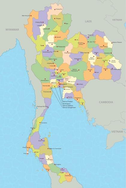 Vector De Mapa De Tailandia Vector Premium