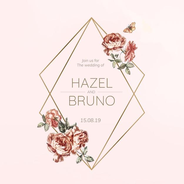 Vector de maqueta de invitación de boda floral vector gratuito