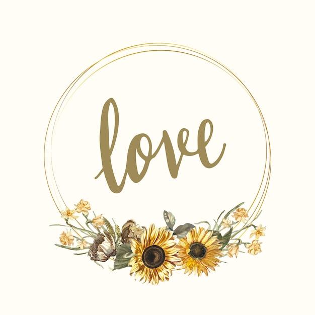 Vector de maqueta de tarjeta de amor floral vector gratuito