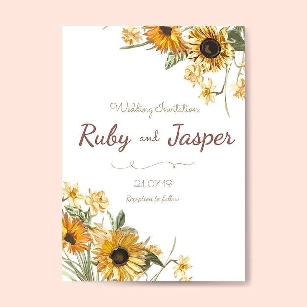 Vector de maqueta de tarjeta de invitación de boda vector gratuito
