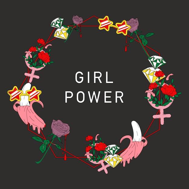 Vector de marco de flor de poder de niña vector gratuito
