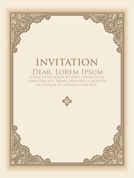 Vector el marco floral y geométrico del monograma en fondo gris claro con el texto de muestra. elemento de diseño de monograma. tarjeta de invitación antigua. vector gratuito