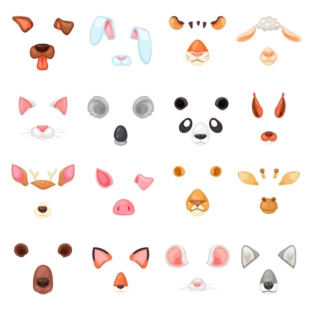 Vector de máscara animal cara de enmascaramiento animal de personajes salvajes oso lobo conejo y gato o perro en mascarada ilustración conjunto de carnaval disfraz enmascarado tigre máscara aislada sobre fondo blanco Vector Premium