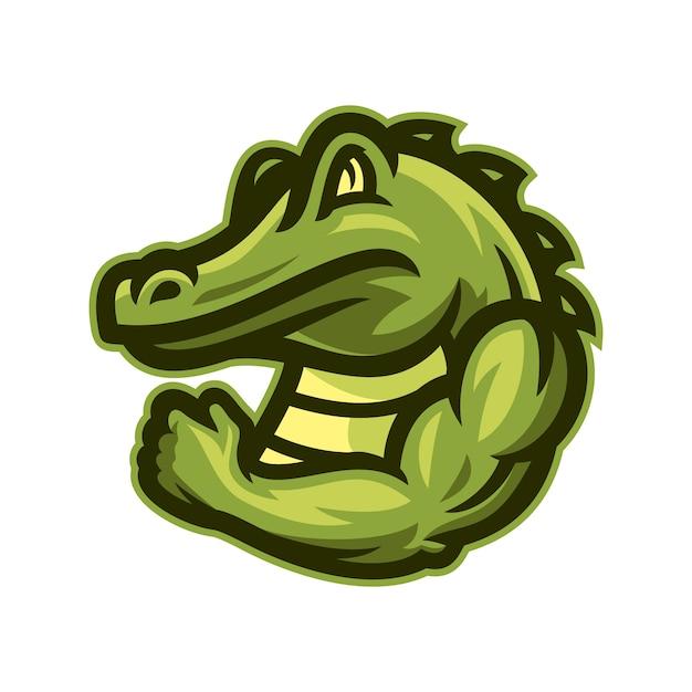 Vector de la mascota de la mascota del cocodrilo fuerte Vector Premium