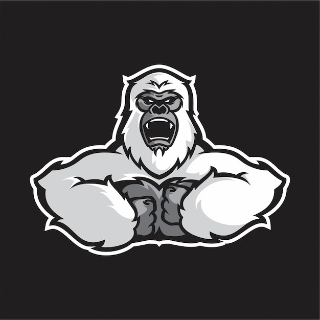 Vector de medio cuerpo de gorila blanco Vector Premium