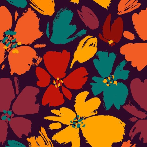 Vector el modelo inconsútil con las flores salvajes del dibujo de la mano, botánico colorido Vector Premium