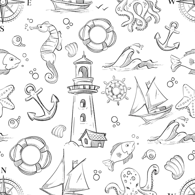 Vector náutico doodle de patrones sin fisuras Vector Premium