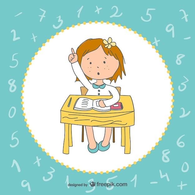 Vector niña en la escuela | Descargar Vectores gratis