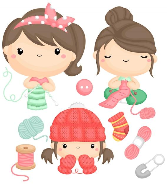 Un vector de niñas tejiendo y su ropa terminada. vector gratuito