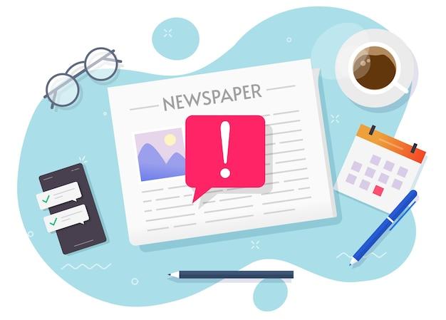 Vector de noticias falsas, importante concepto de noticias de última hora en el periódico diario Vector Premium