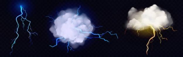 Vector nubes realistas con relámpagos vector gratuito