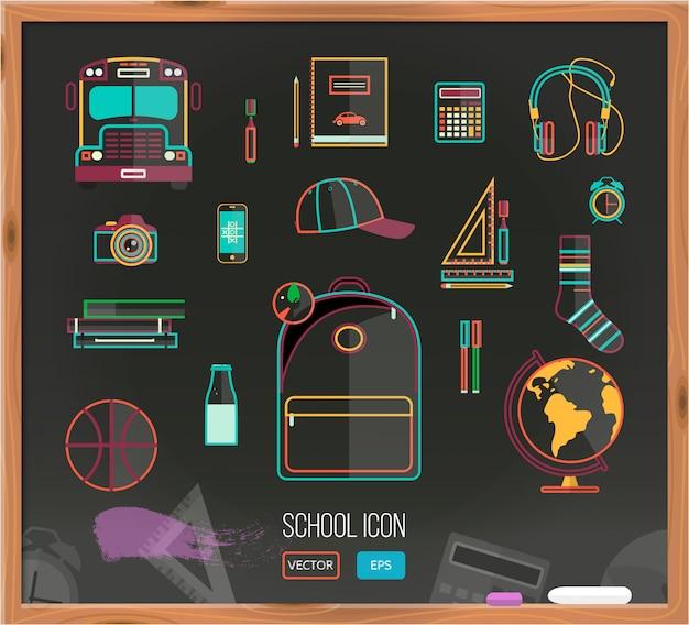 Vector de nuevo a fondo de la escuela con el conjunto de útiles escolares. Vector Premium
