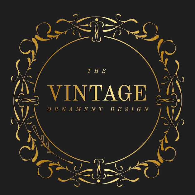 Vector de oro vintage art nouveau insignia vector gratuito