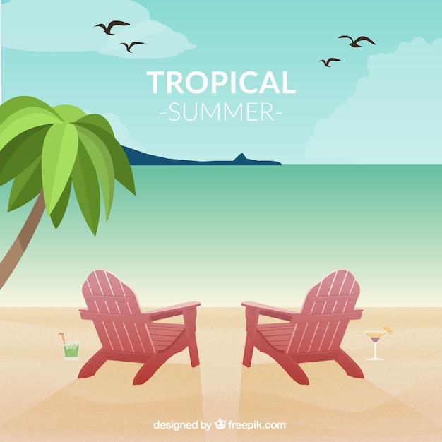 Vector paisaje tropical vector gratuito