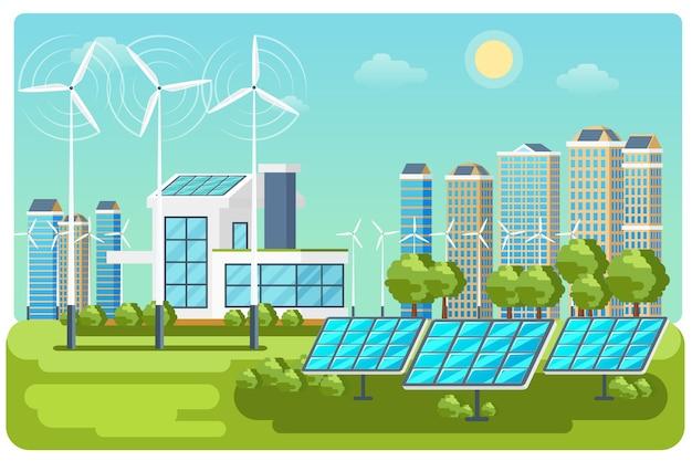 Vector de paisaje urbano de energía verde. naturaleza de la ecología, construcción de viviendas ecológicas. ilustración de paisaje de vector de ciudad ecológica de energía verde vector gratuito