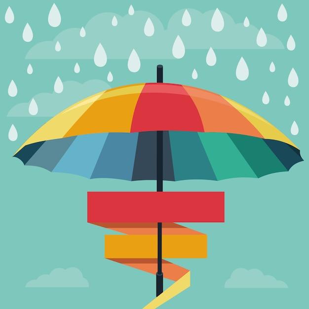 Vector Paraguas Y Gotas De Lluvia En Colores Del Arco Iris Vector Premium