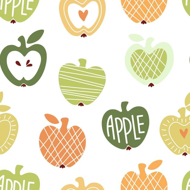 Vector sin patrón con manzanas lindas abstractas Vector Premium