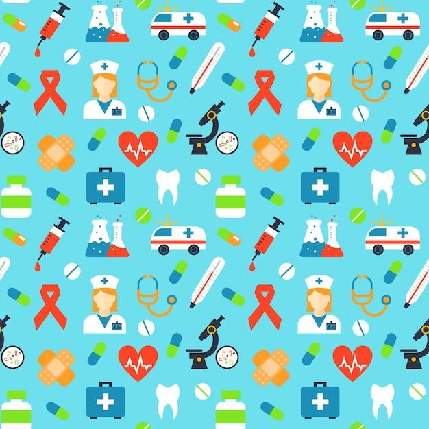 Vector patrón médico sin fisuras. microscopio de medicina, cinta roja, yeso y antibiótico, sangre y pulso, vitamina y jeringa, cápsula y termómetro vector gratuito