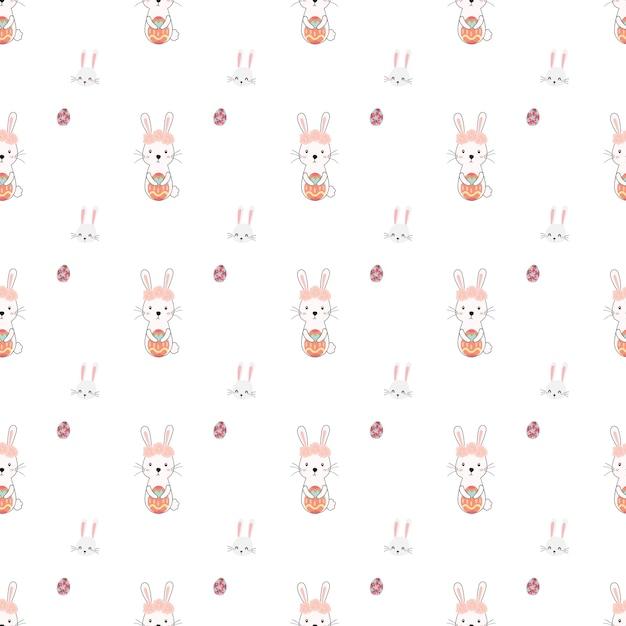 Vector de patrón de pascua conejo lindo sin costuras   Descargar ...