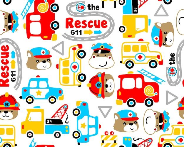 Vector de patrones sin fisuras con dibujos animados de equipo de rescate Vector Premium