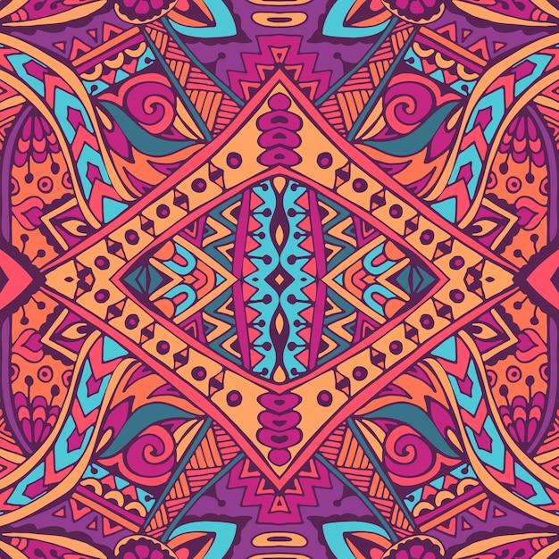Vector de patrones sin fisuras flor colorida étnica tribal geométrica psicodélica impresión mexicana Vector Premium