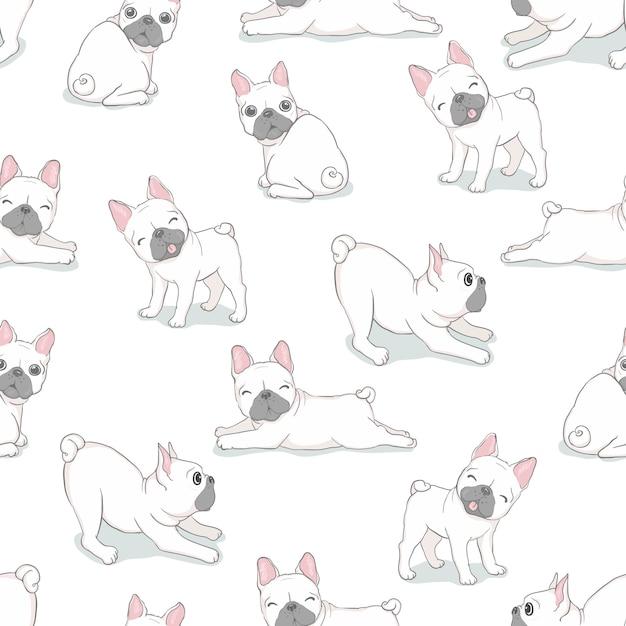 Vector de perro bulldog francés de patrones sin fisuras Vector Premium