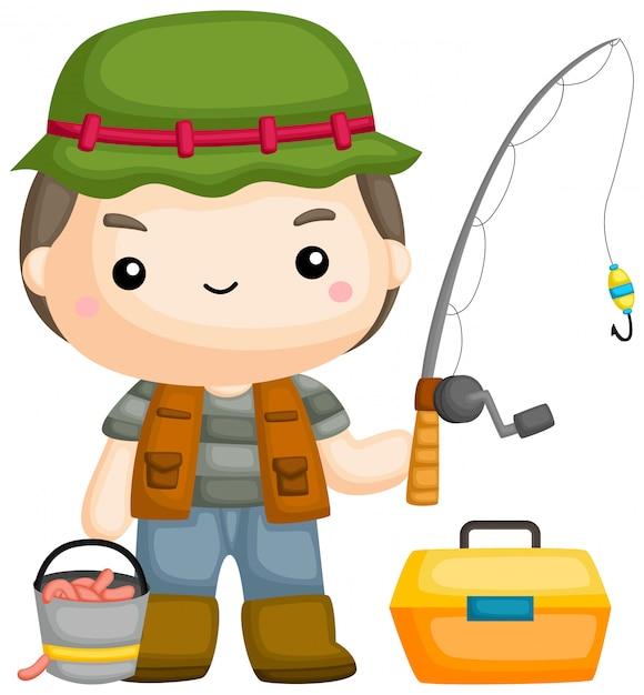 Un vector de un pescador con su caña de pescar. Vector Premium