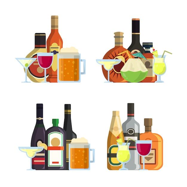 Vector las pilas de bebidas alcohólicas en vidrios y botellas en sistema plano del estilo. botella de alcohol, bebida bebida bebida ilustración Vector Premium