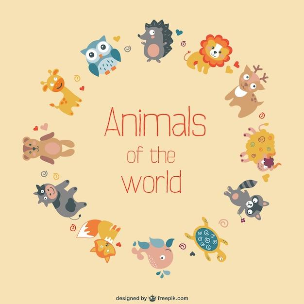 Vector plano de animales del mundo vector gratuito