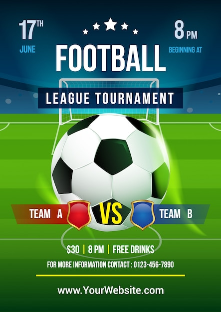 Vector de plantilla de cartel de torneo de la liga de fútbol Vector Premium
