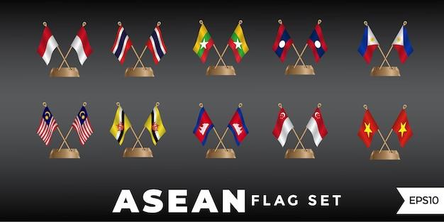 Vector de plantilla de diseño de bandera de asean Vector Premium