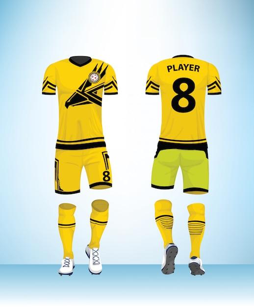 Vector de plantilla de diseño de fútbol uniforme Vector Premium