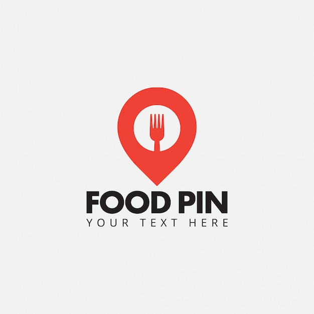 Vector de plantilla de diseño de logotipo de pin de comida aislado Vector Premium