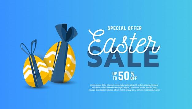 Vector plantilla horizontal para banner de venta para feliz pascua Vector Premium