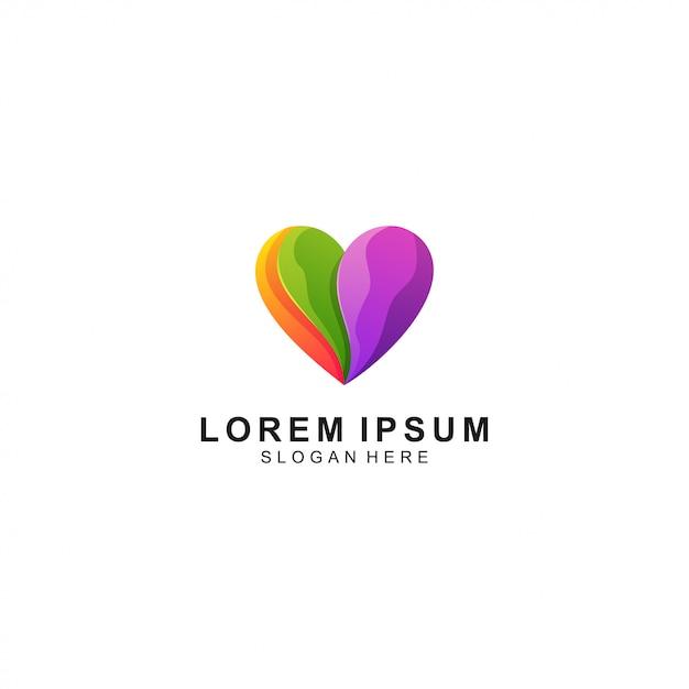 Vector de plantilla de logotipo colorido de amor Vector Premium