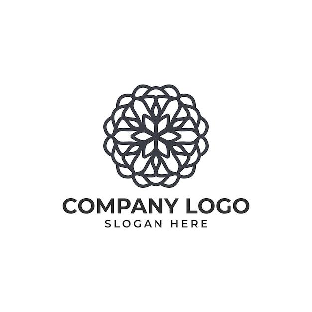 Vector de plantilla de logotipo de flor abstracta Vector Premium
