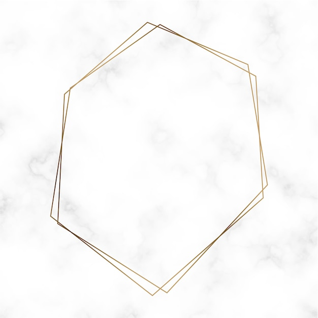 Vector de plantilla de marco hexagonal de oro vector gratuito