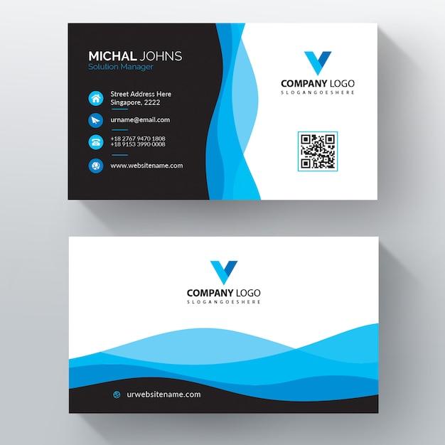 Vector de plantilla de tarjeta de visita de estilo ondulado vector gratuito